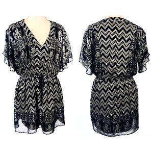 XS Free People Black Gold Boho V-Neck Tunic Dress